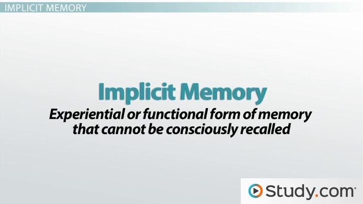 Implicit Versus Explicit Memory Definitions Differences Video