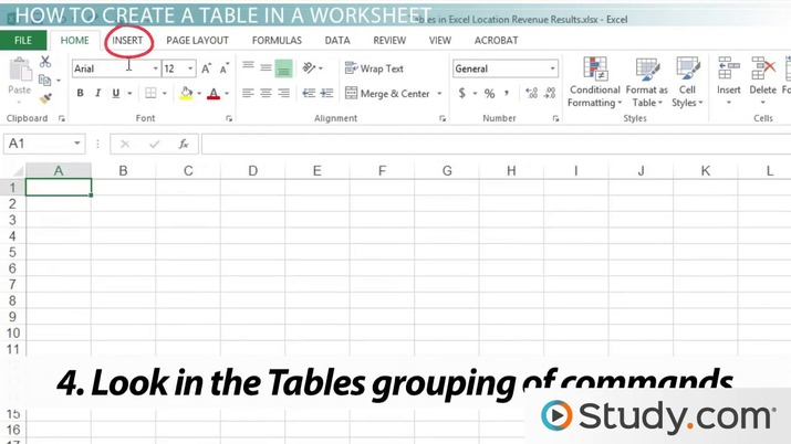 How To Create A Table In An Excel Worksheet Video Lesson