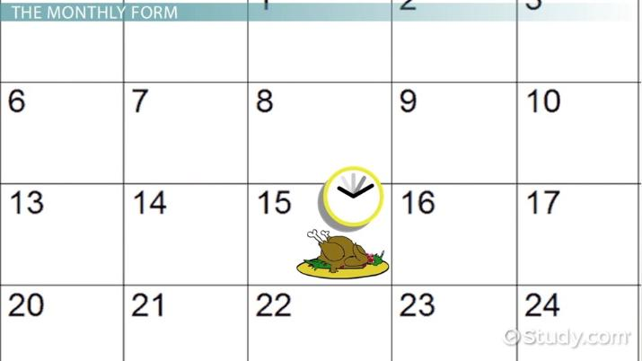 Reading a Calendar - Video & Lesson Transcript | Study com
