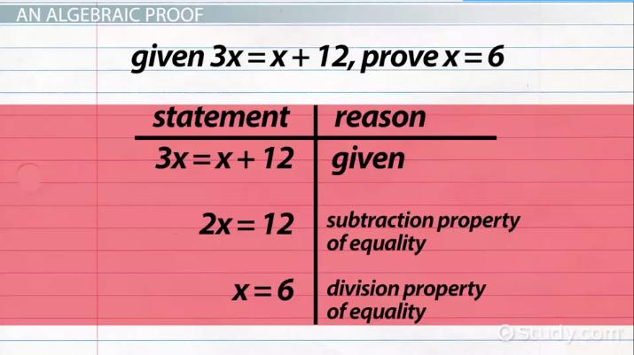 Algebraic Proofs: Format & Examples - Video & Lesson Transcript ...