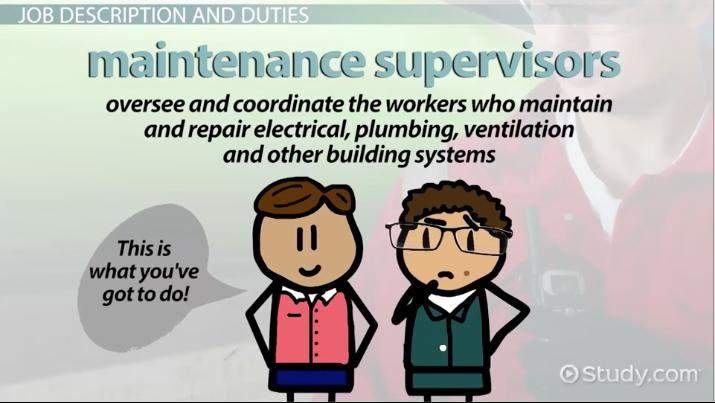 maintenance supervisor  job description  duties and