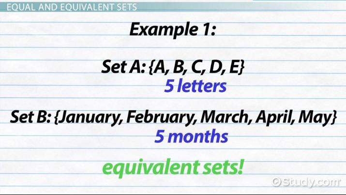 Equivalent Sets: Definition & Example - Video & Lesson Transcript