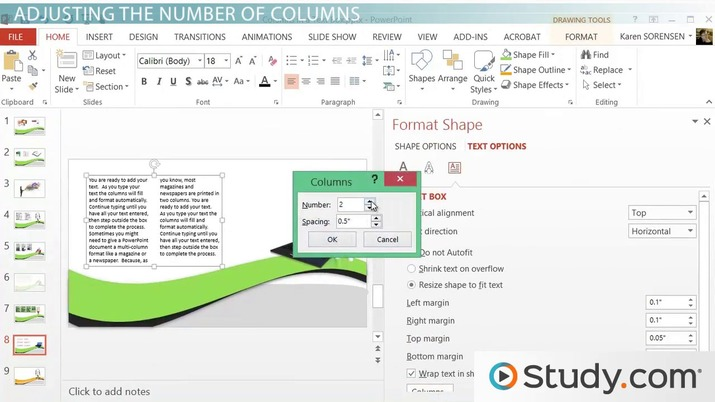 How to Create Multiple Columns in a Single Shape in