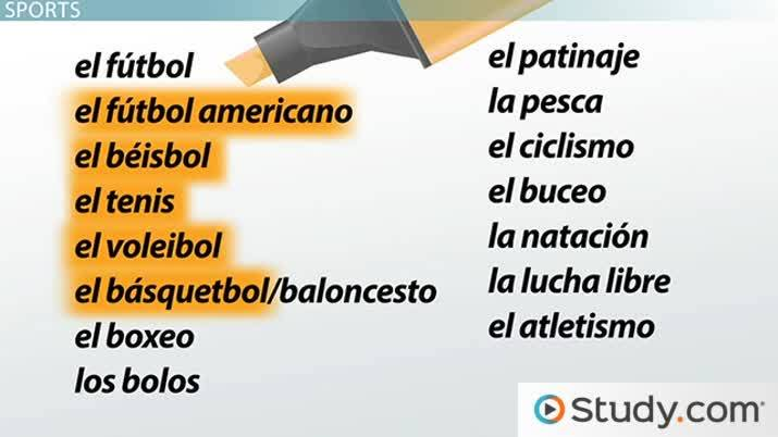 Spanish Sports Vocabulary - Video & Lesson Transcript