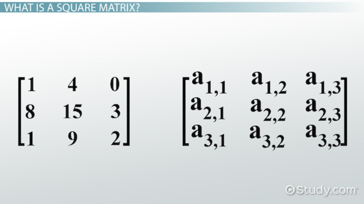 Square Matrix Definition Concept Video Lesson Transcript