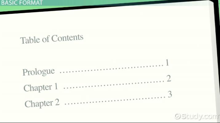 Table Of Contents Examples And Format Video Lesson Transcript Study