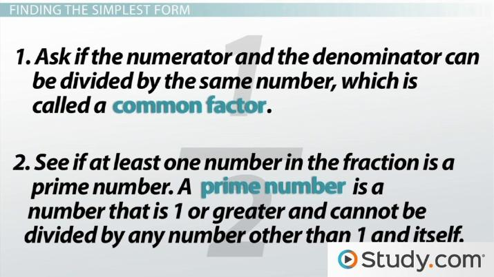simplest form synonym  What is Simplest Form? - Definition & How to Write Fractions in Simplest  Form