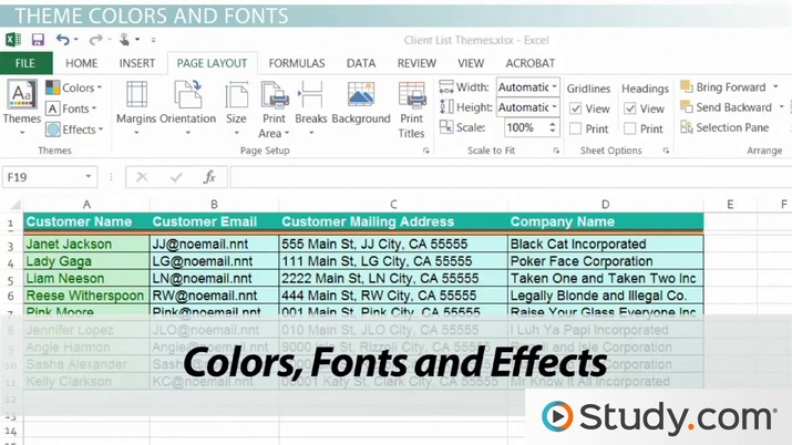 Workbook Themes Applying Amp Changing Themes In Excel