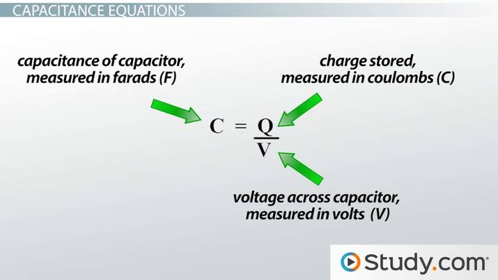 Capacitance: Units & Formula - Video & Lesson Transcript | Study com