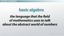 Basic Algebra: Rules, Equations & Examples