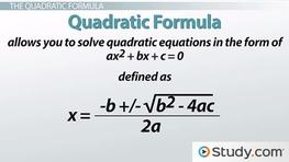 Solving Problems using the Quadratic Formula