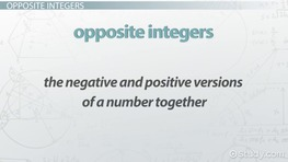 Absolute Value & Opposite Integers