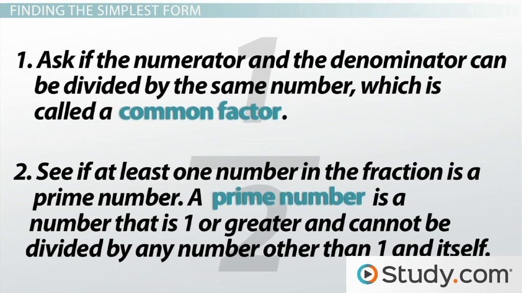 simplest form meaning  What is Simplest Form? - Definition & How to Write Fractions in Simplest  Form