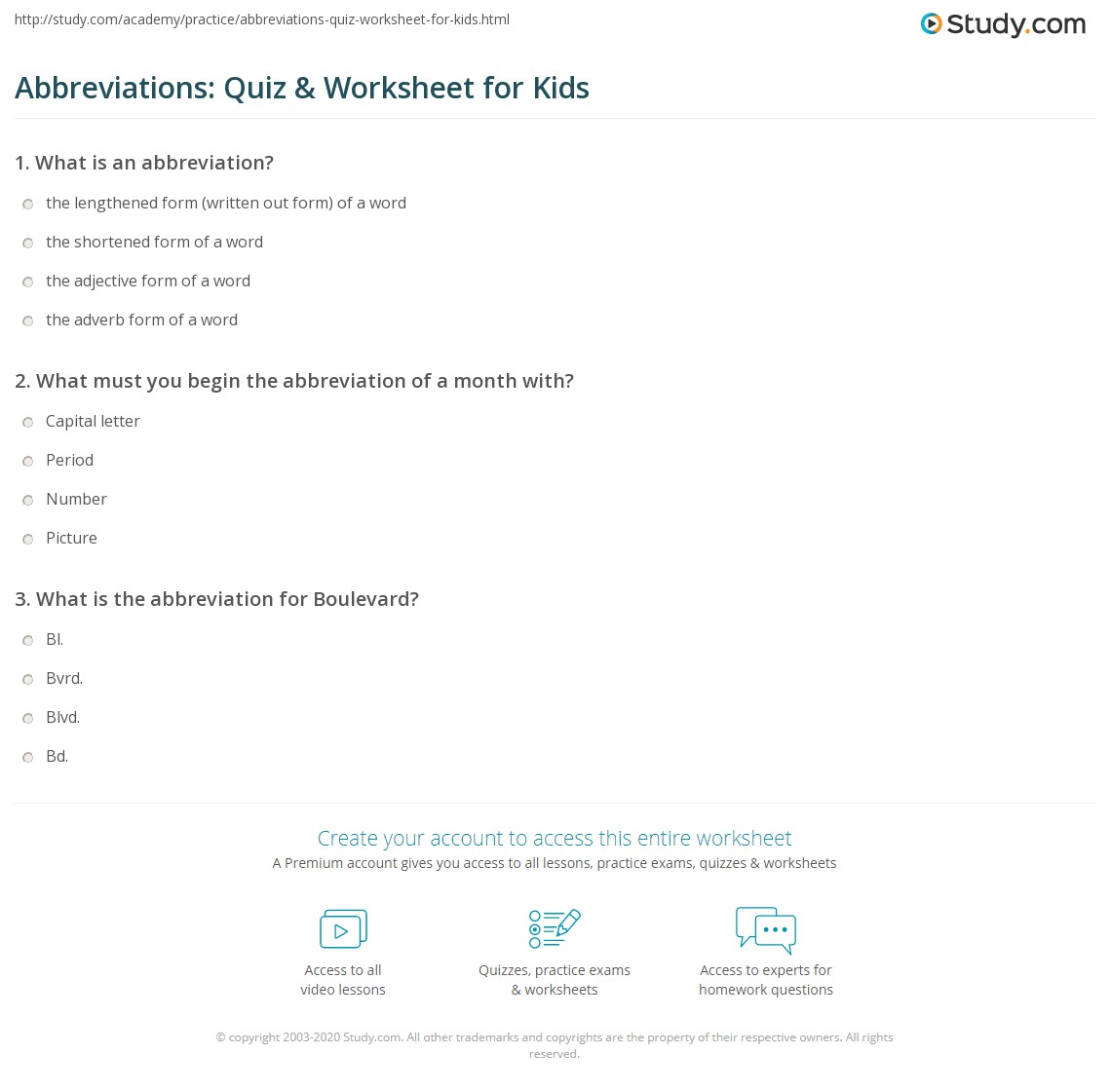 Abbreviations Quiz Worksheet for Kids – Abbreviations Worksheet