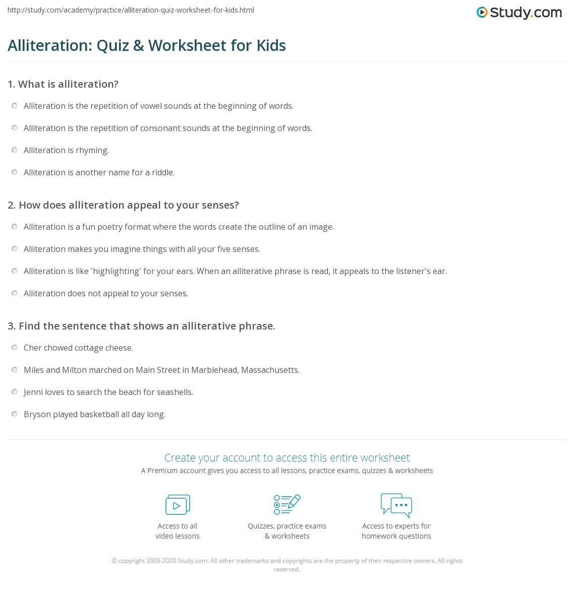 Alliteration Quiz  Worksheet for Kids  Studycom