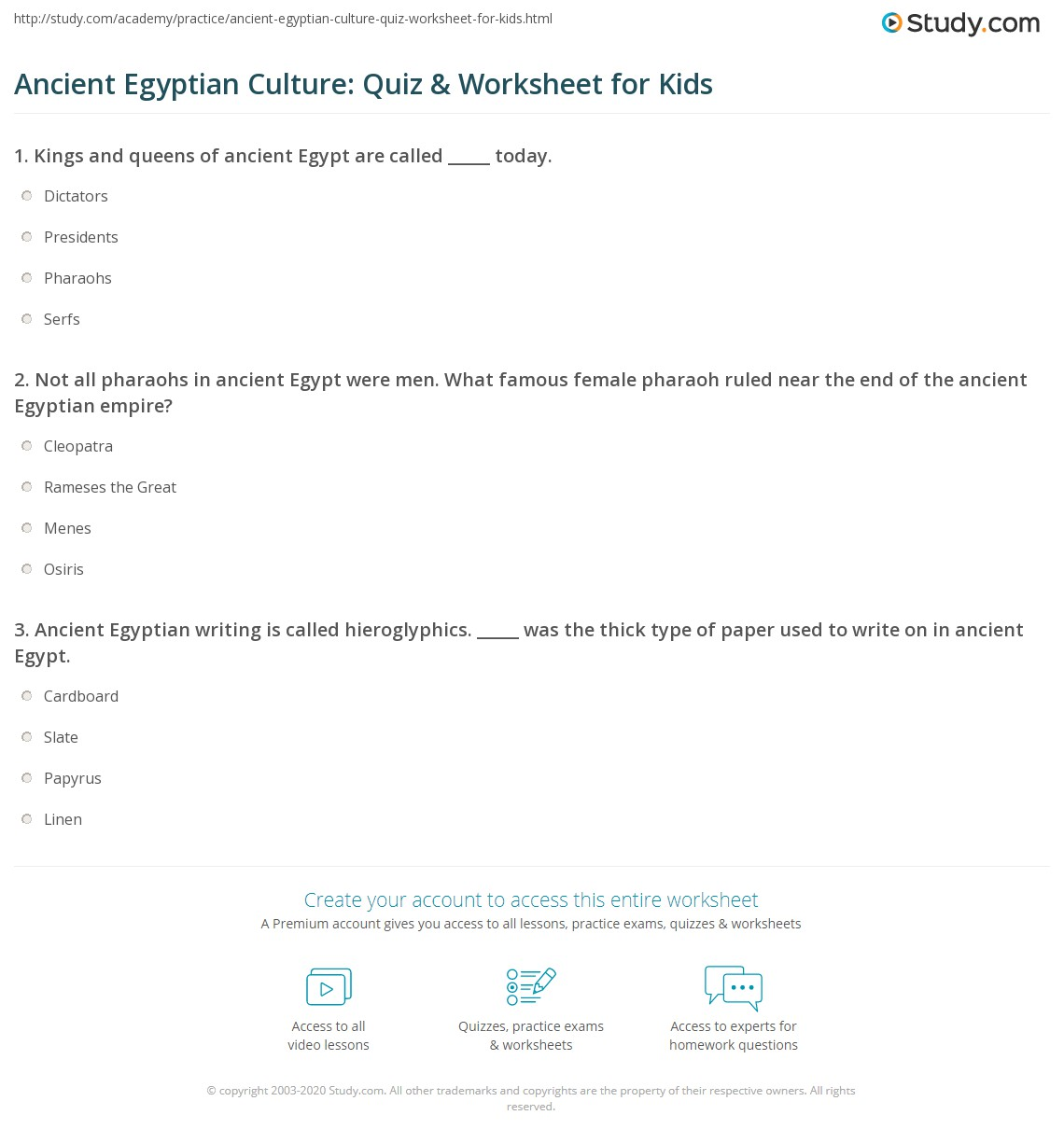 ancient egyptian culture quiz worksheet for kids. Black Bedroom Furniture Sets. Home Design Ideas