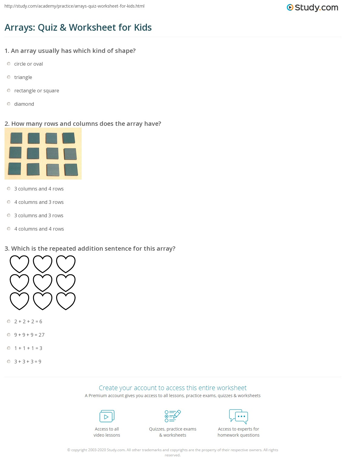 Arrays Quiz Worksheet for Kids – Arrays Worksheet