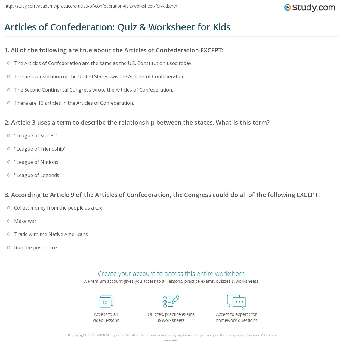 Articles of Confederation: Quiz & Worksheet for Kids | Study.com