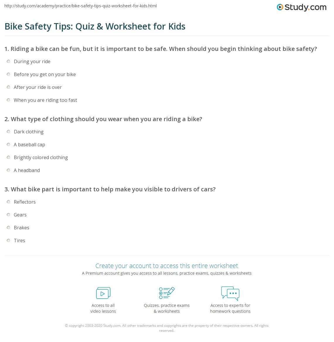 Bike Safety Tips: Quiz & Worksheet For Kids