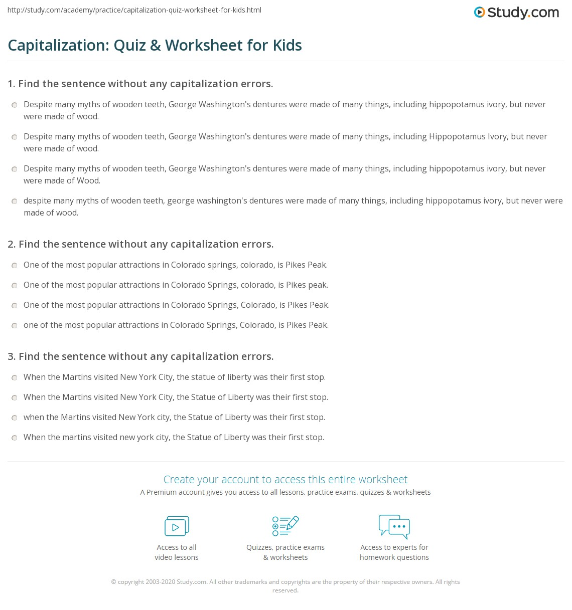Free Worksheet Capitalization Practice Worksheets capitalization quiz worksheet for kids study com print lesson rules definition worksheet