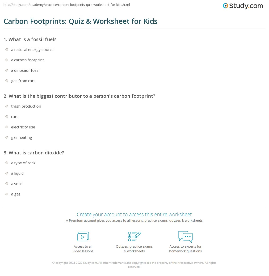 Worksheets Carbon Footprint Worksheet carbon footprints quiz worksheet for kids study com print footprint lesson definition facts worksheet