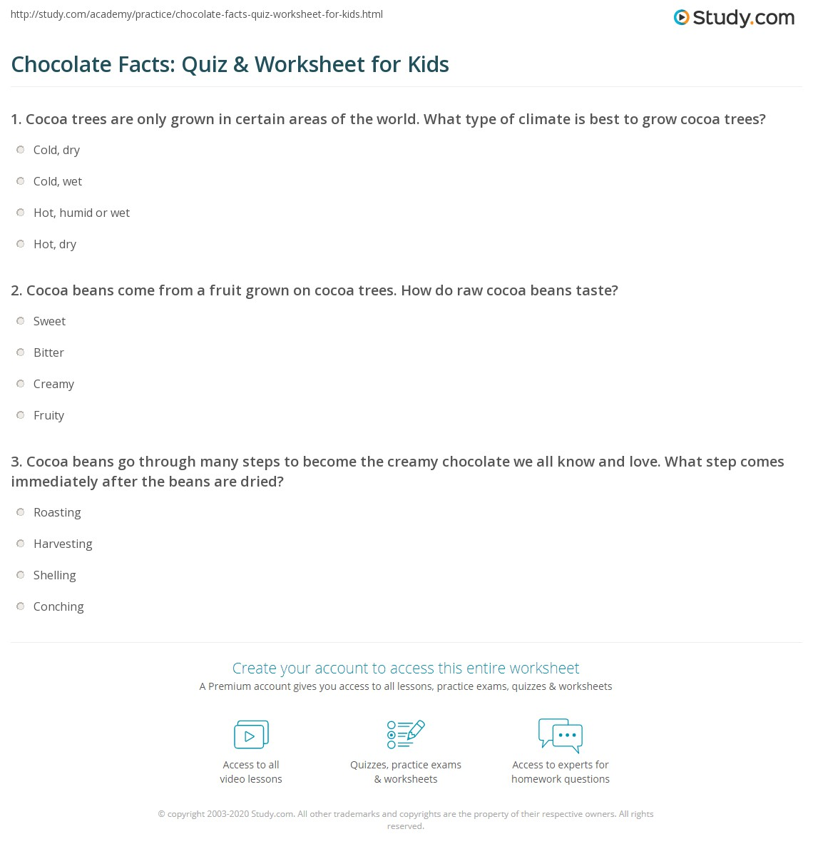 Chocolate Facts: Quiz & Worksheet for Kids | Study.com