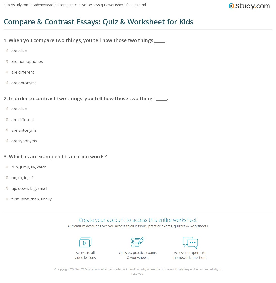compare contrast essays quiz worksheet for kids com print writing a compare contrast essay lesson for kids worksheet