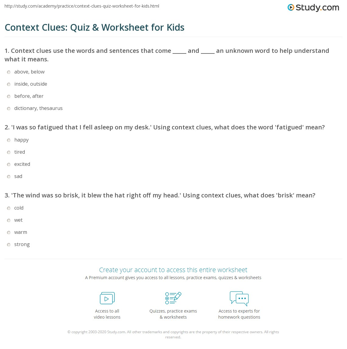Context Clues Quiz Worksheet for Kids – Vocabulary Context Clues Worksheets