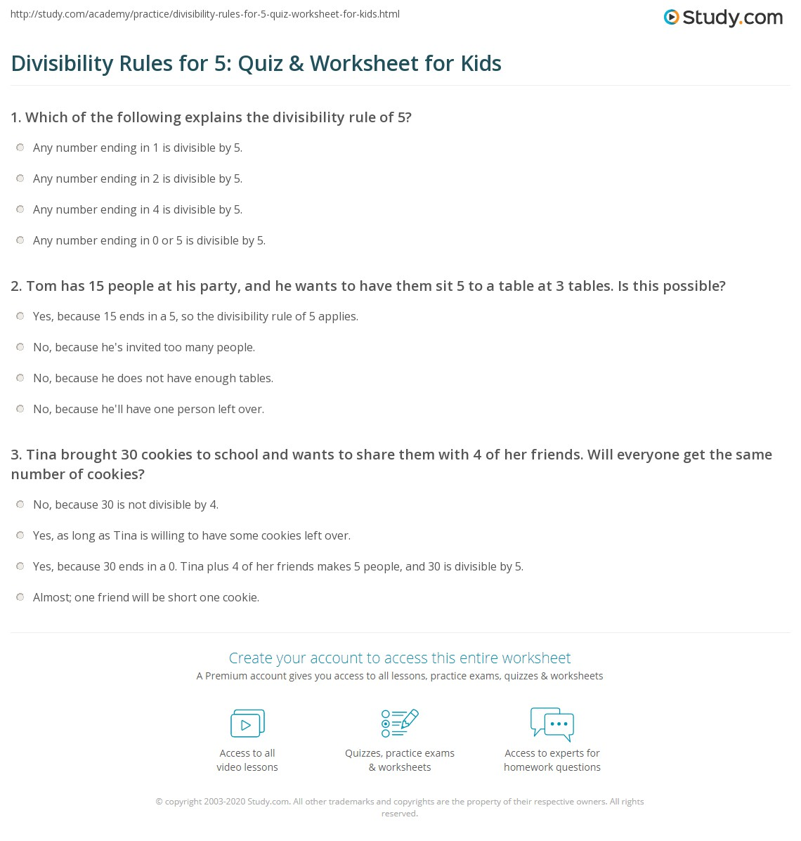 Divisibility Rules for 5 Quiz and Worksheet for Kids – Divisibility Test Worksheet