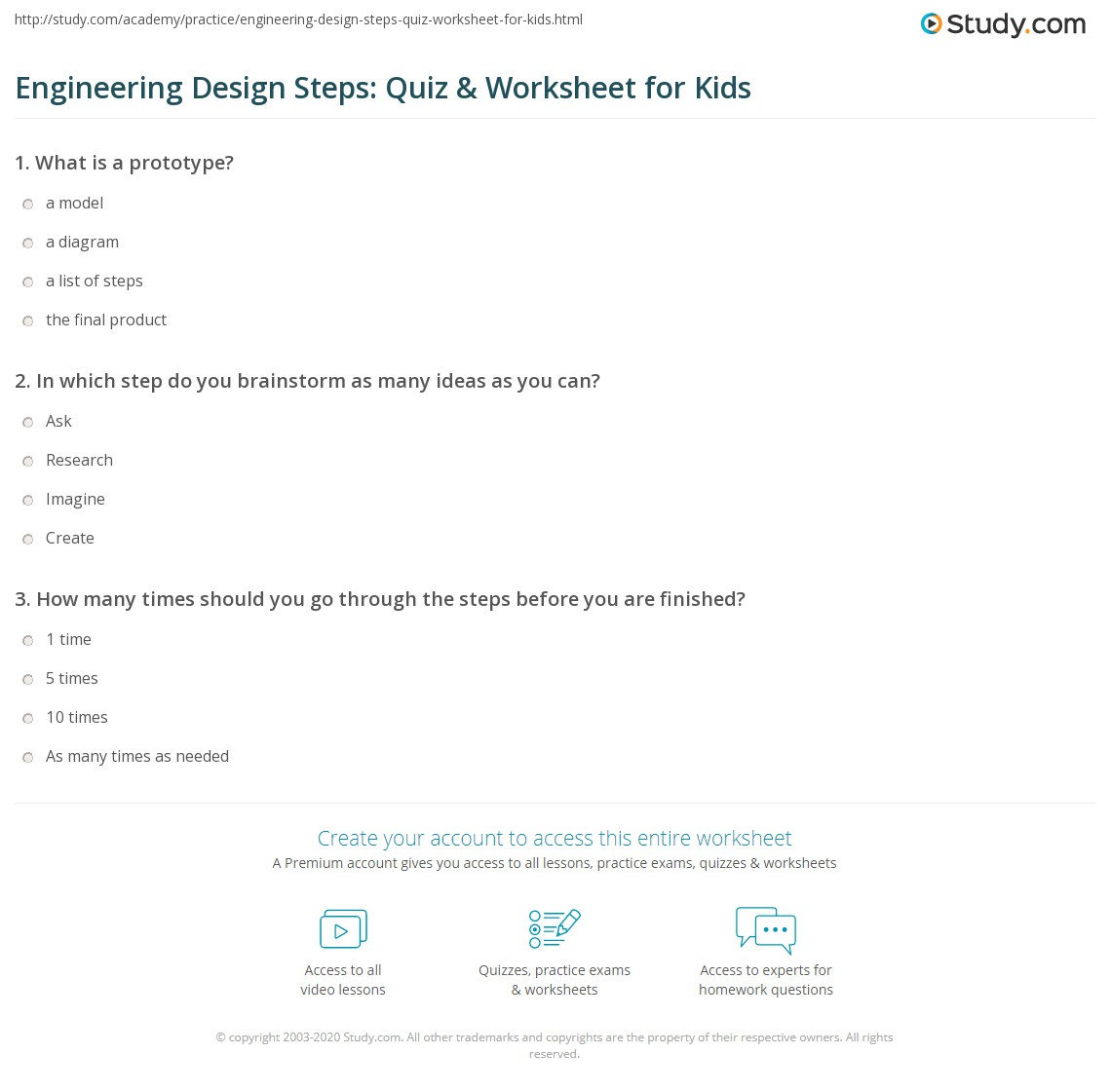 Engineering Design Steps Quiz Worksheet for Kids – Engineering Design Process Worksheet