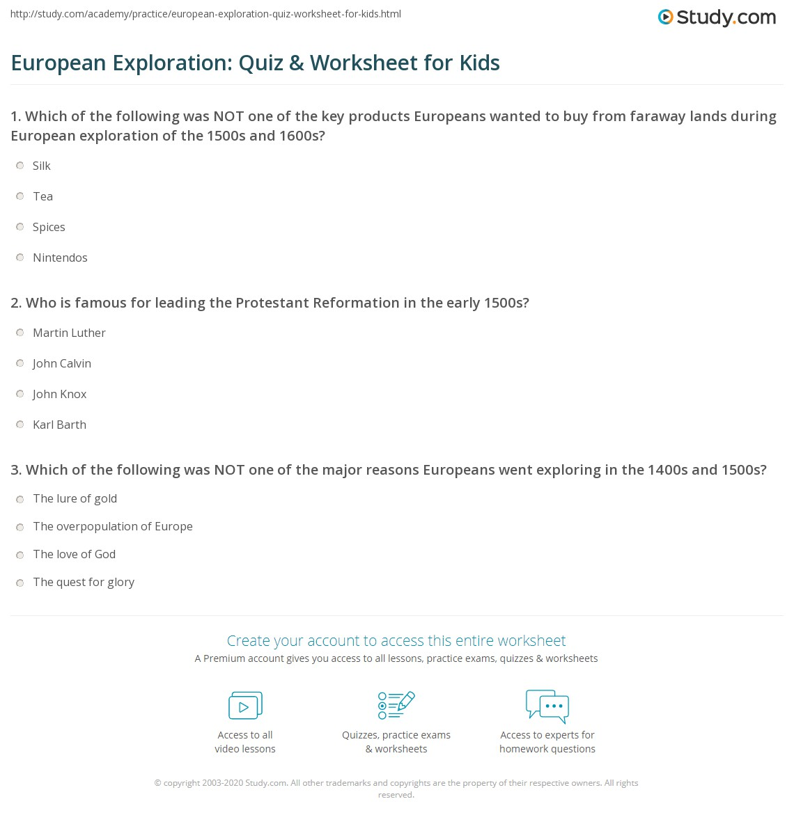 European Exploration Quiz Worksheet for Kids – Protestant Reformation Worksheet