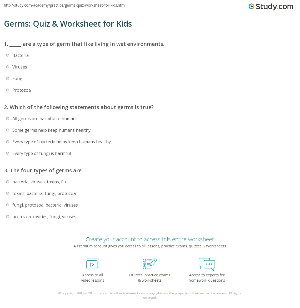 Free Worksheet Germs Worksheets germs quiz worksheet for kids study com print facts about lesson worksheet