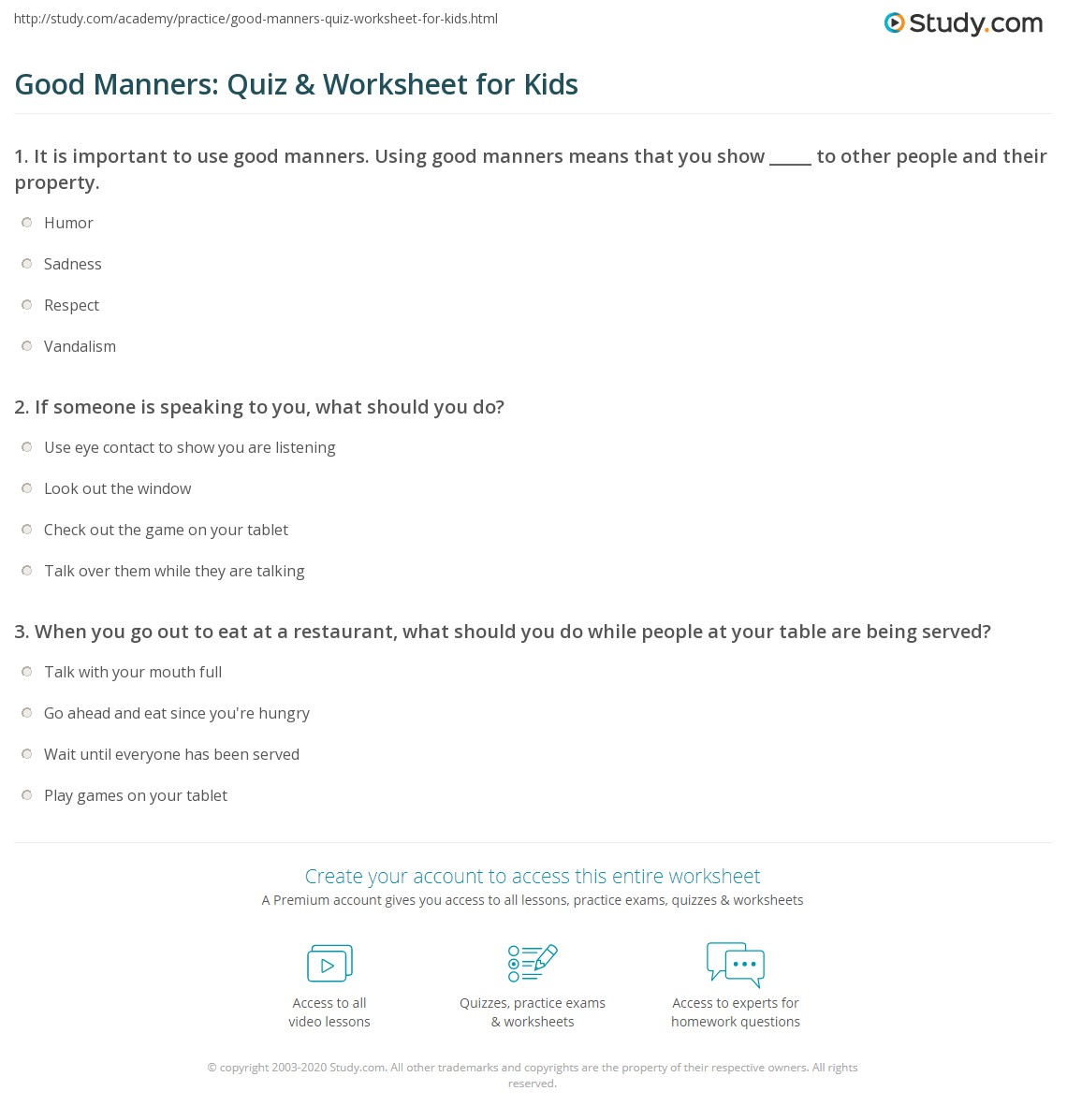 Free Worksheet Manners Worksheets good manners quiz worksheet for kids study com print lesson worksheet