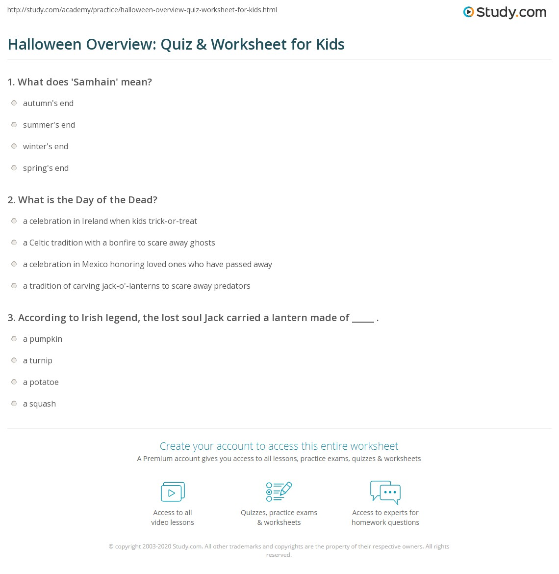 print halloween lesson for kids history facts worksheet - Halloween Quiz For Kids
