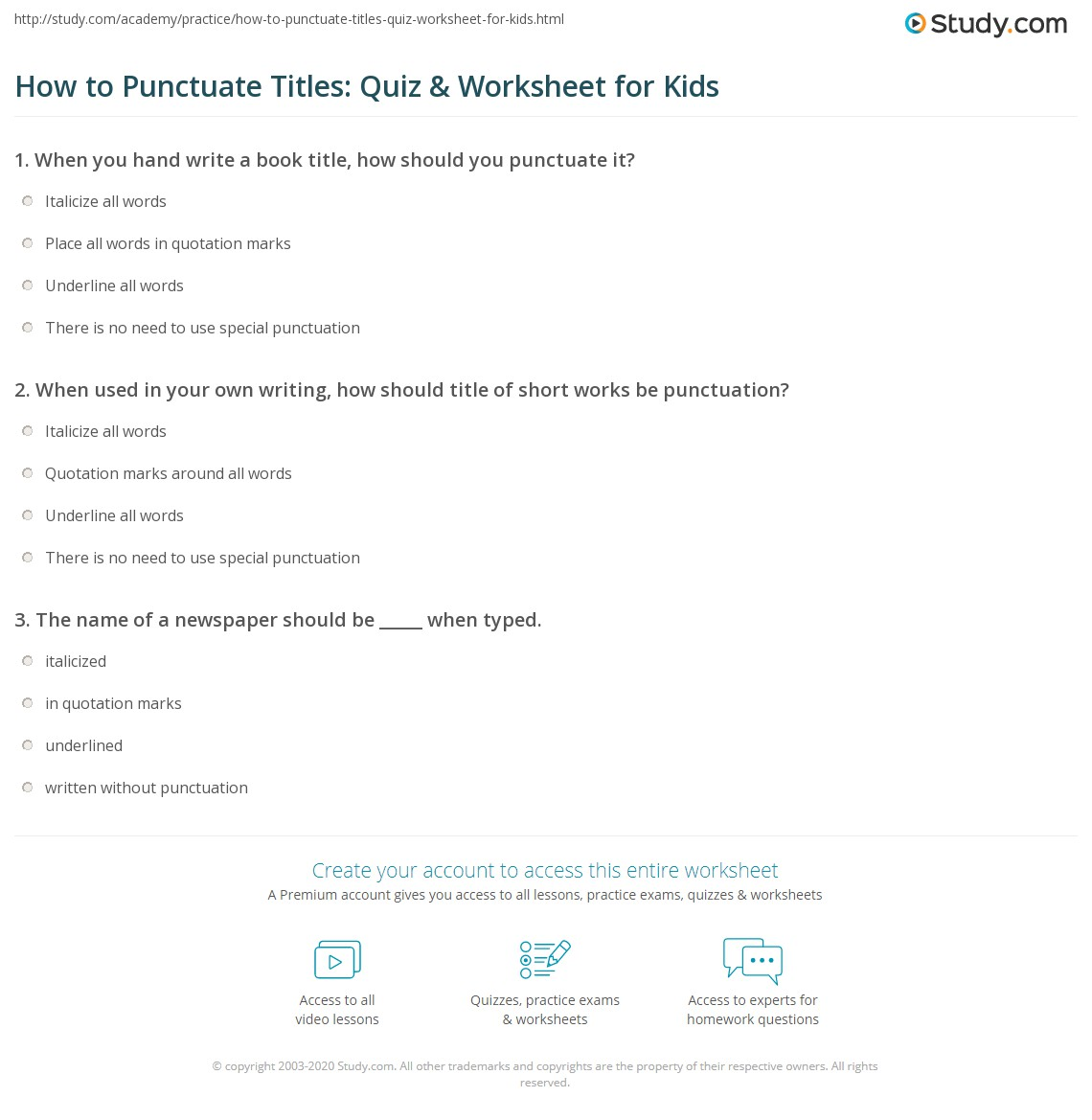 How to Punctuate Titles Quiz Worksheet for Kids – Punctuating Dialogue Worksheet