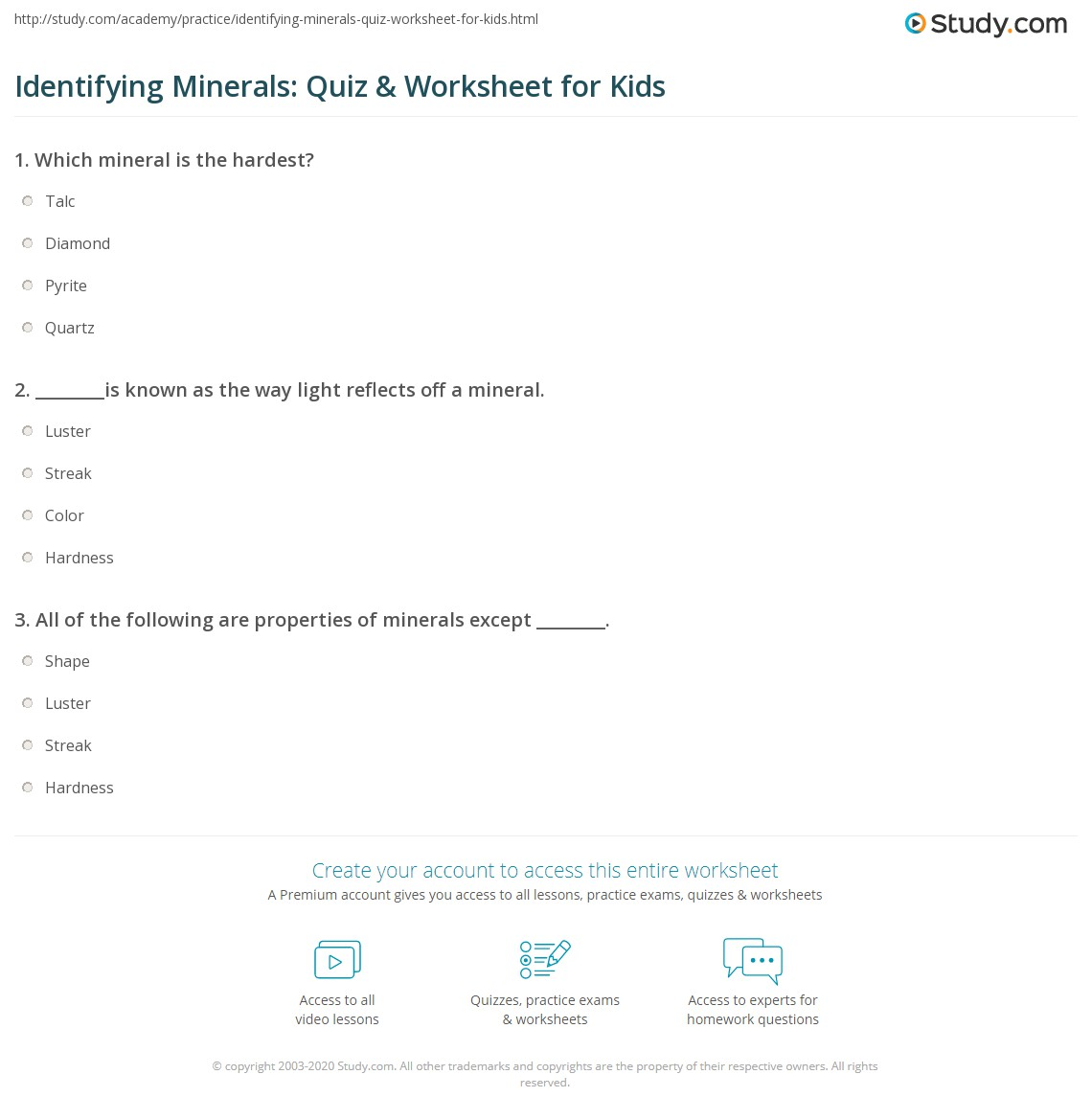 Identifying Minerals: Quiz & Worksheet for Kids | Study.com