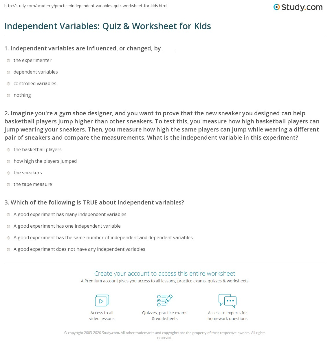 independent variables quiz worksheet for kids. Black Bedroom Furniture Sets. Home Design Ideas