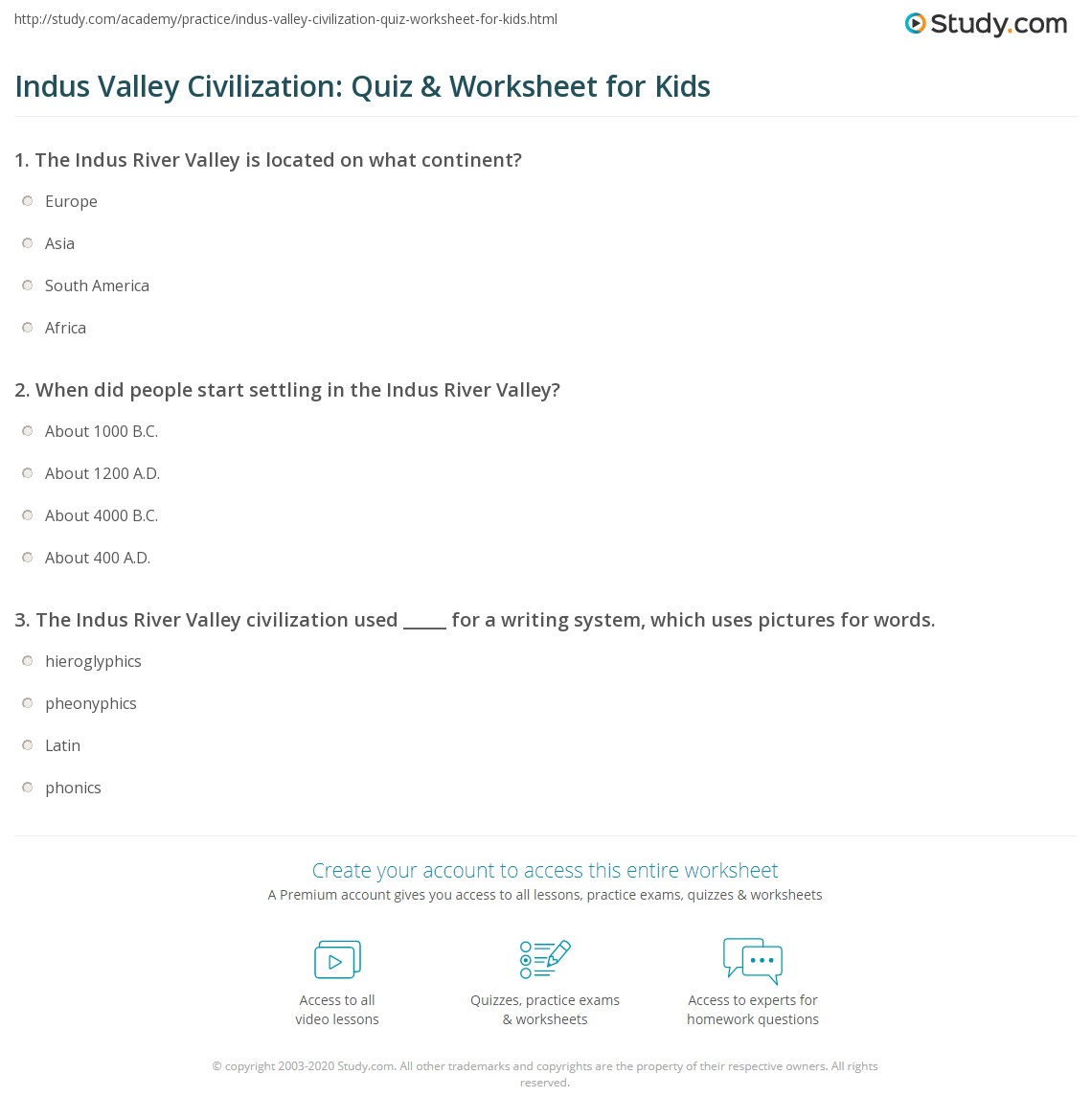indus valley civilization quiz worksheet for kids. Black Bedroom Furniture Sets. Home Design Ideas