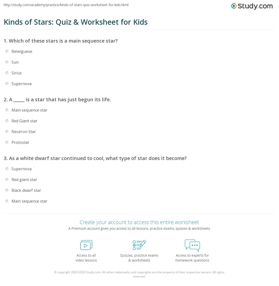 Kinds of Stars: Quiz & Worksheet for Kids | Study.com