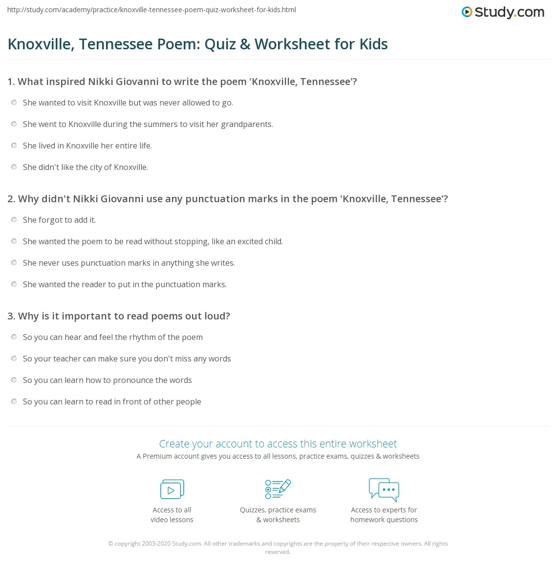 Worksheets Child Support Worksheet Tn knoxville tennessee poem quiz worksheet for kids study com print by nikki giovanni lesson worksheet