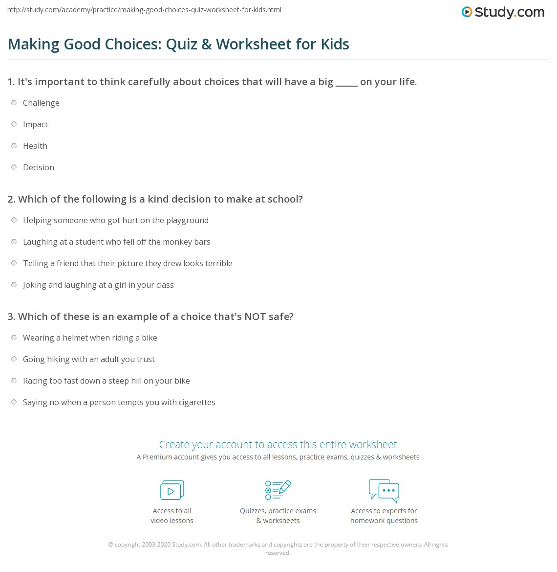 Making Good Choices: Quiz & Worksheet for Kids | Study.com