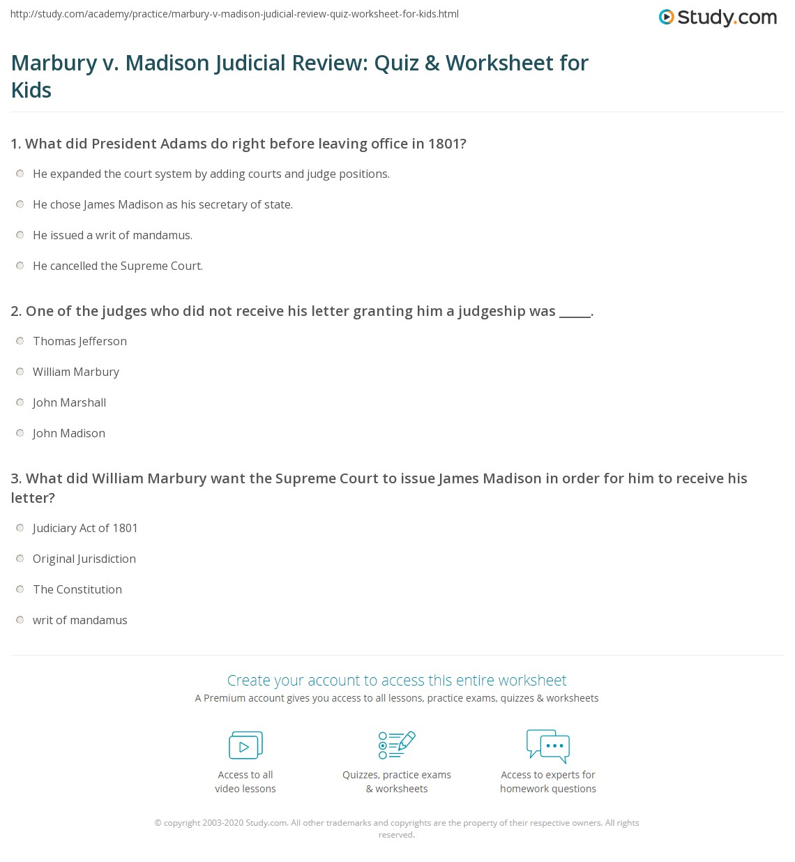 Marbury v Madison Judicial Review Quiz Worksheet for Kids – Marbury V Madison Worksheet