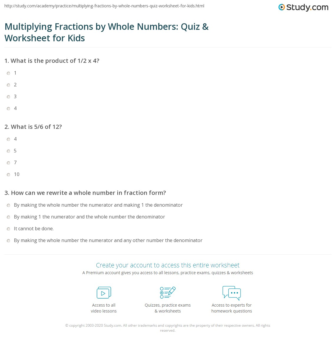 Multiply Fraction By Whole Number Worksheet worksheets for 3rd – Multiply Fraction by Whole Number Worksheet