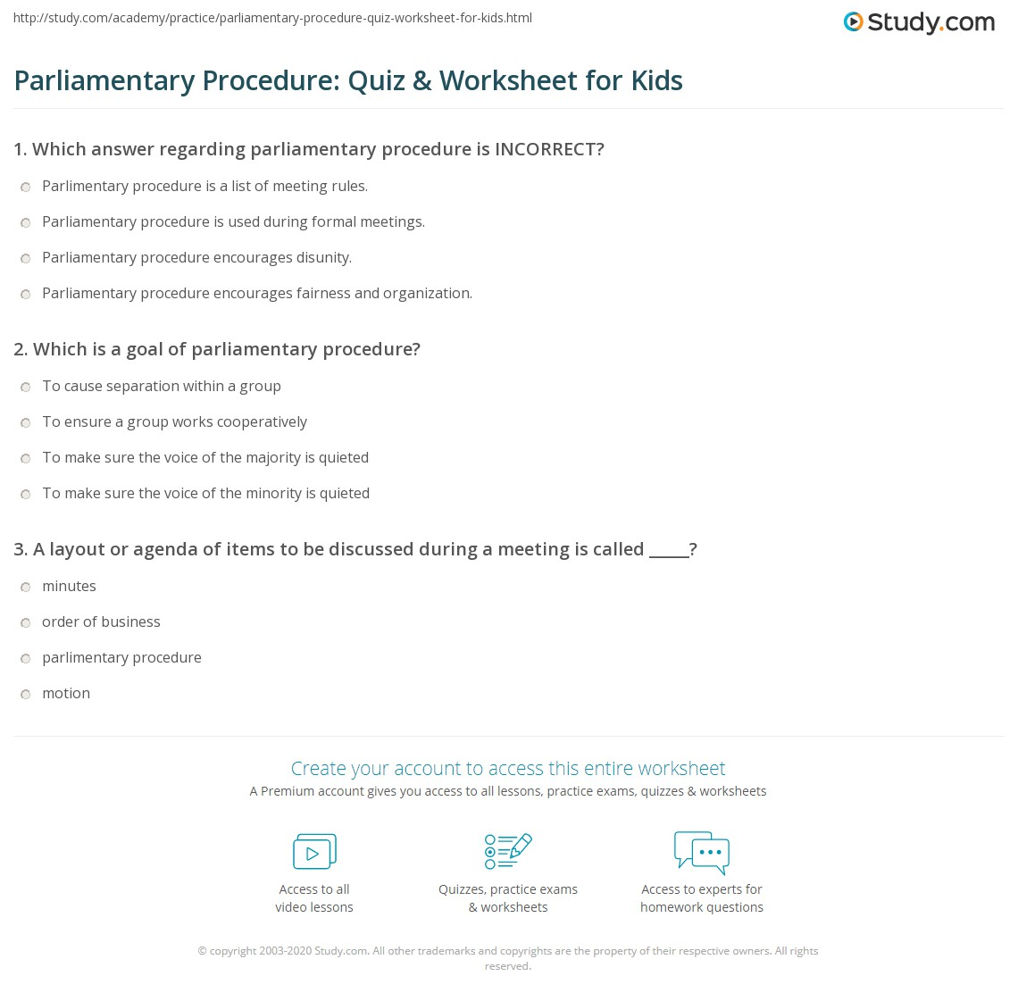 parliamentary procedure quiz worksheet for kids. Black Bedroom Furniture Sets. Home Design Ideas