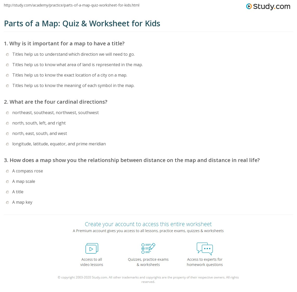 Printables Parts Of A Map Worksheet parts of a map quiz worksheet for kids study com print lesson worksheet