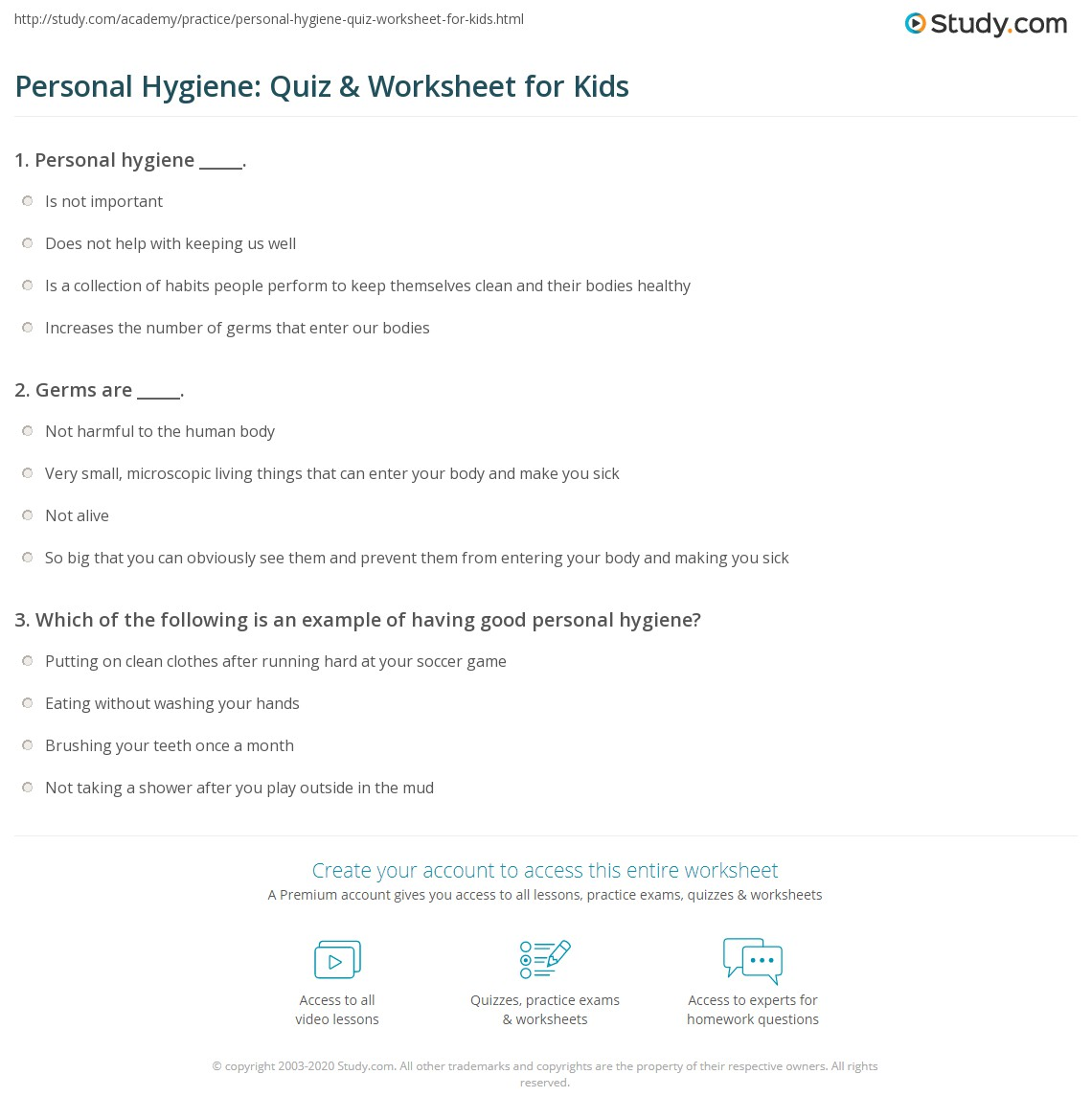 personal hygiene quiz worksheet for kids com print personal hygiene lesson for kids facts tips worksheet