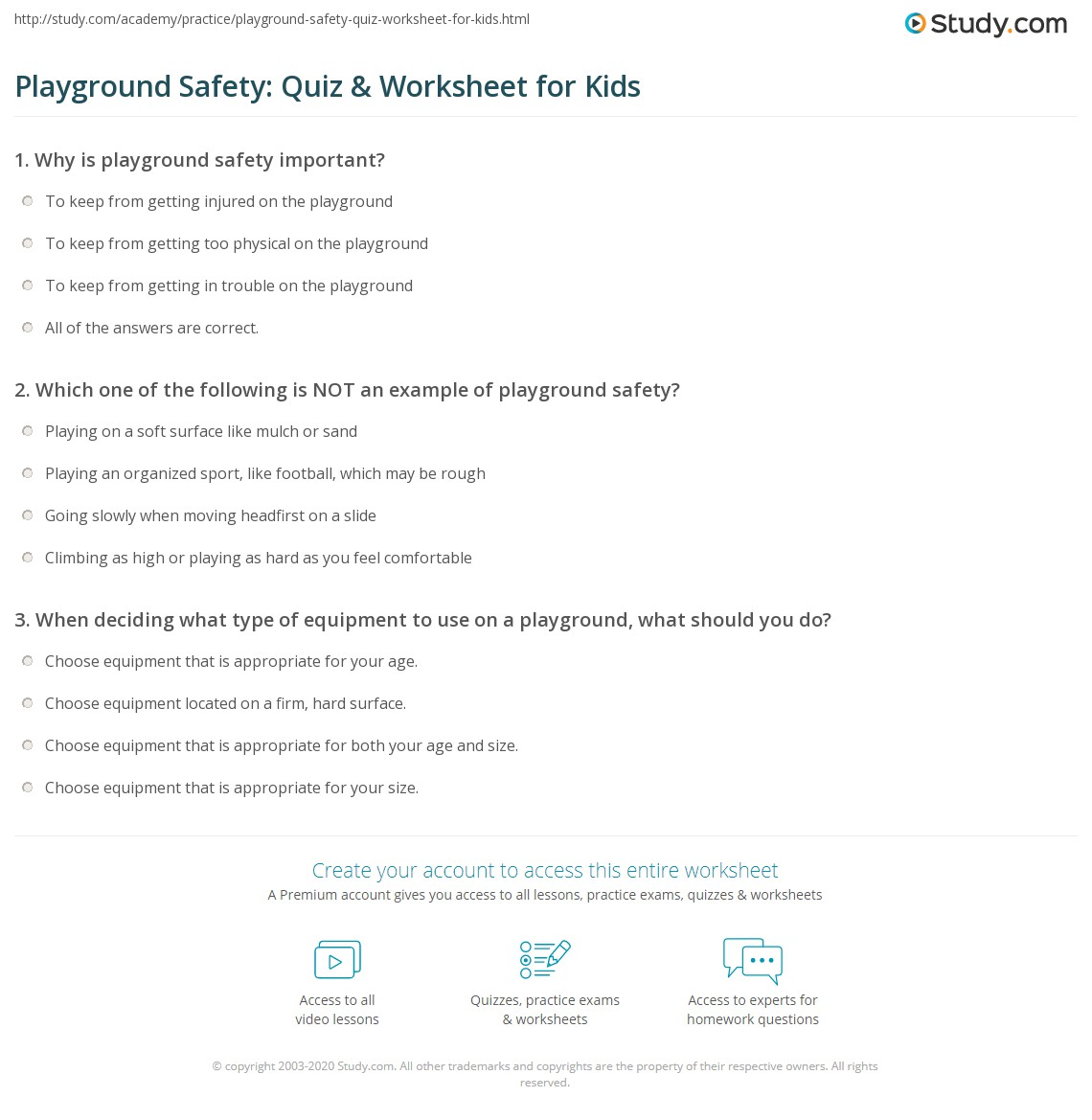 Playground Safety: Quiz & Worksheet For Kids
