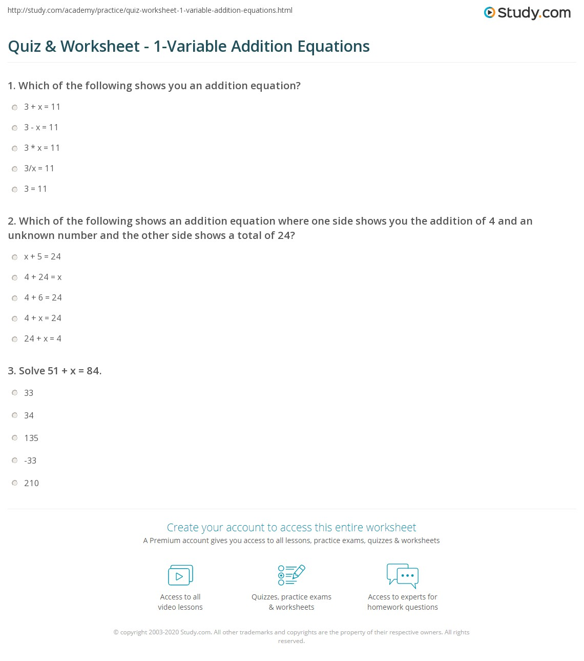 math worksheet : quiz  worksheet  1 variable addition equations  study  : Addition Equations Worksheets