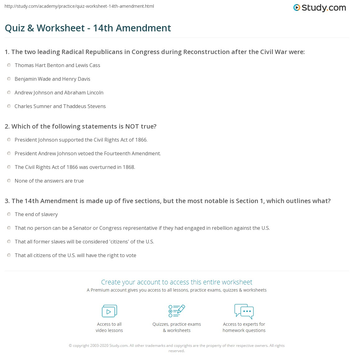 Quiz Worksheet 14th Amendment – Reconstruction Worksheets