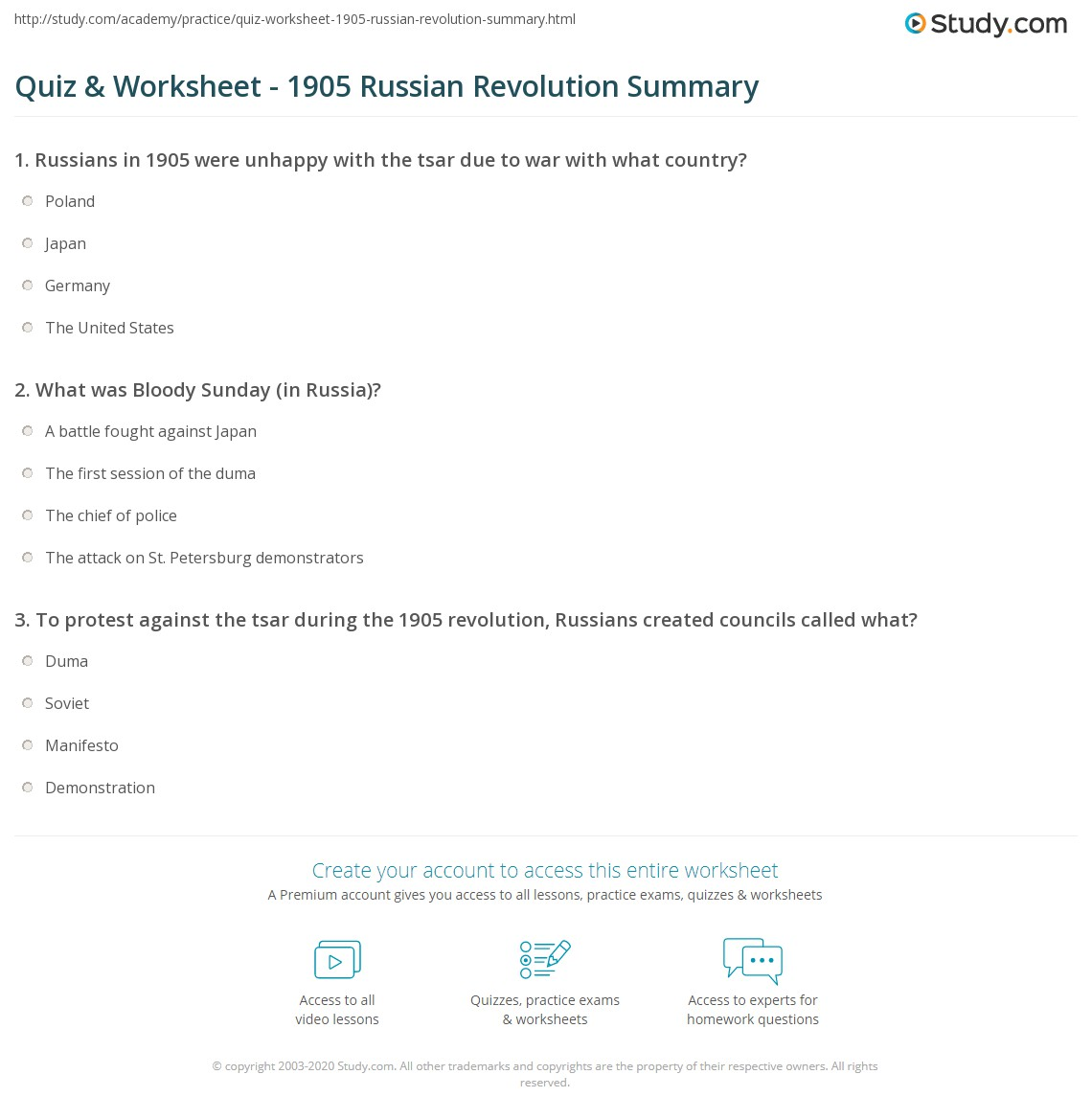quiz worksheet russian revolution summary com print 1905 russian revolution causes consequences worksheet